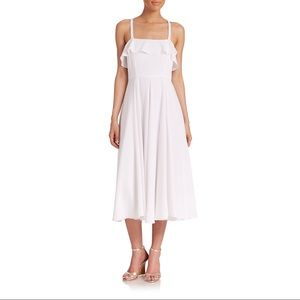 Shoshanna | White Sam Ruffle-top Midi Dress NEW